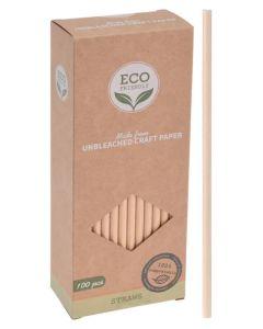 Excellent Houseware ECO Friendly Unbleached Craft Paper Straws 100 pcs.