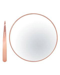 Tweezerman Rose Gold Mini Slant & 10x Mirror Duo