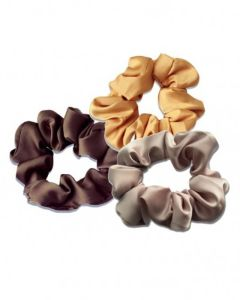 Everneed Scrunchie - Trio silk gold, soft purple/grey, toffe brown