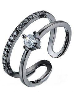 Everneed Monique - sort dobbelt ring med sten