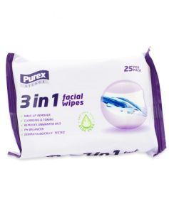 Purex 3-in-1 Facial Wipes 25 stk