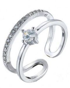 Everneed Monique - sølv dobbelt ring med sten